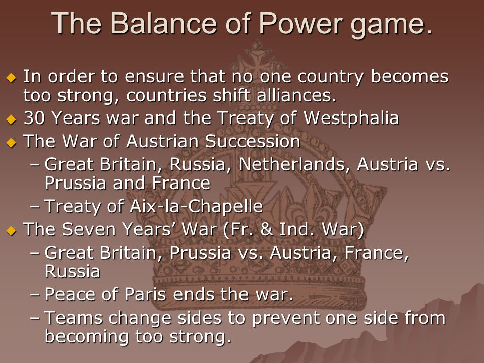 The Balance of Power game.