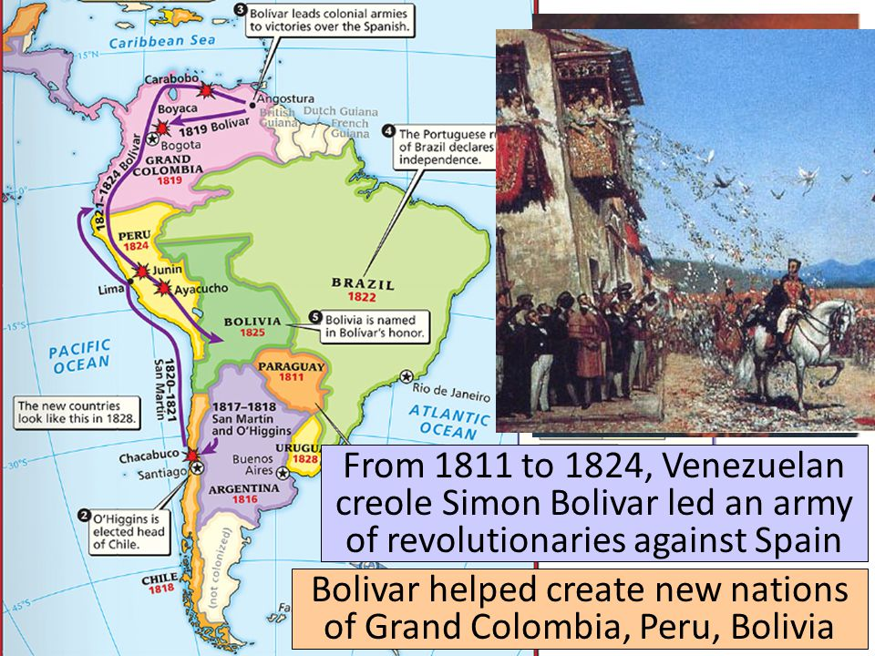 Bolivar helped create new nations of Grand Colombia, Peru, Bolivia
