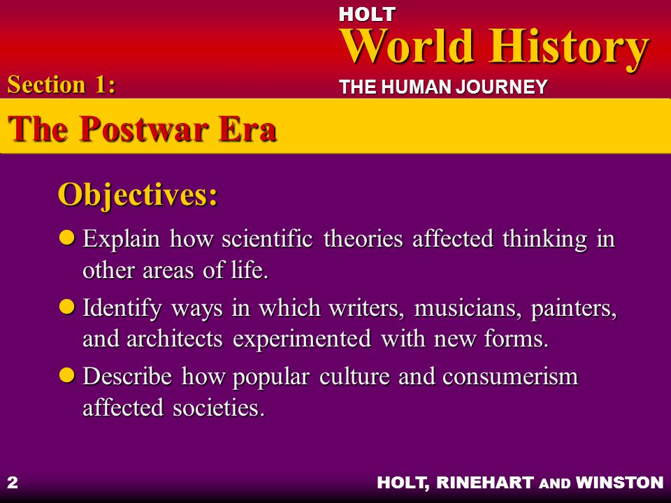The Postwar Era Objectives: Section 1: