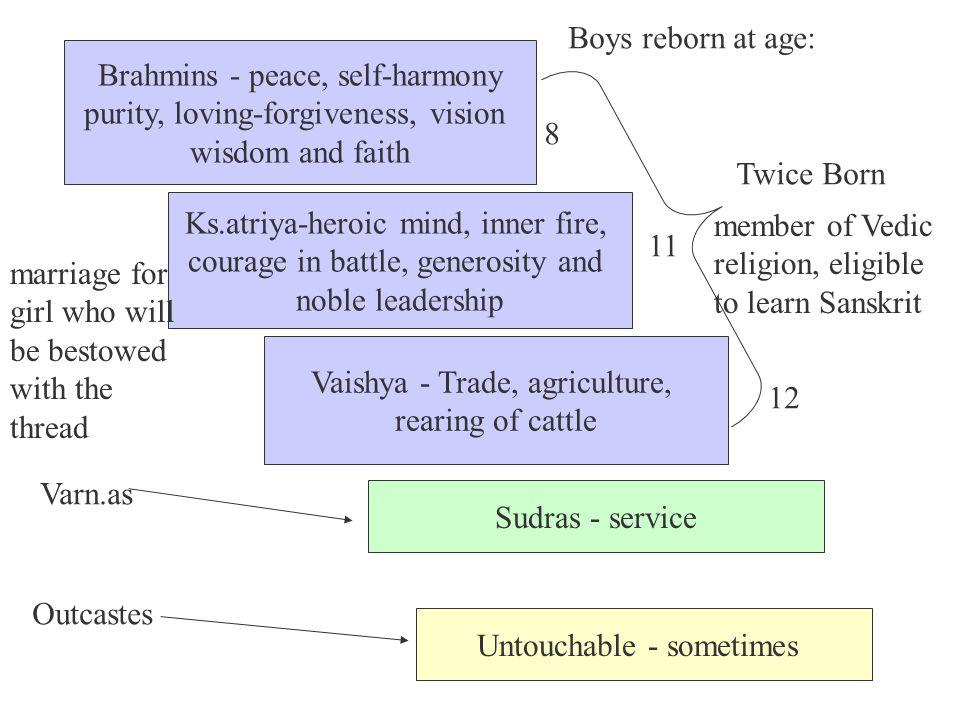 Brahmins - peace, self-harmony purity, loving-forgiveness, vision