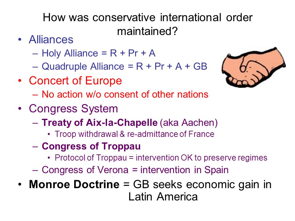 How was conservative international order maintained