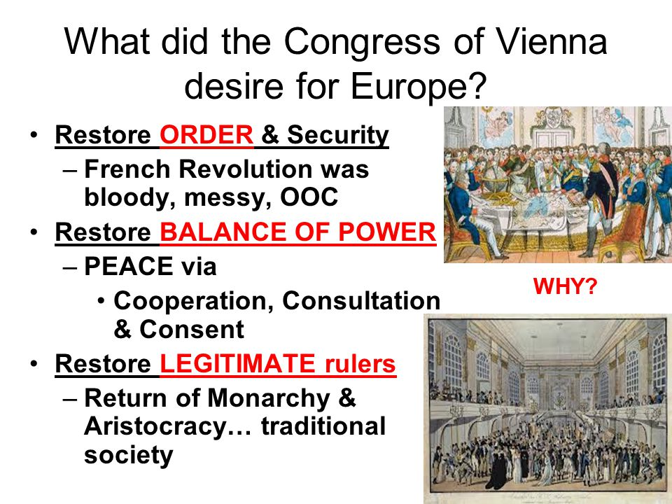 What did the Congress of Vienna desire for Europe
