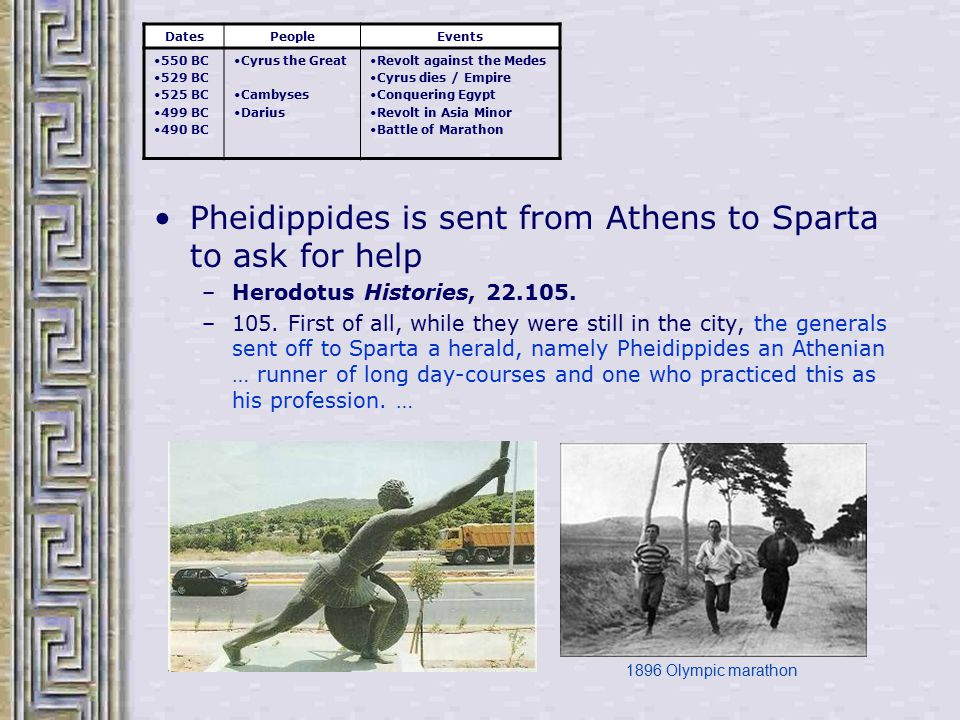 Pheidippides is sent from Athens to Sparta to ask for help