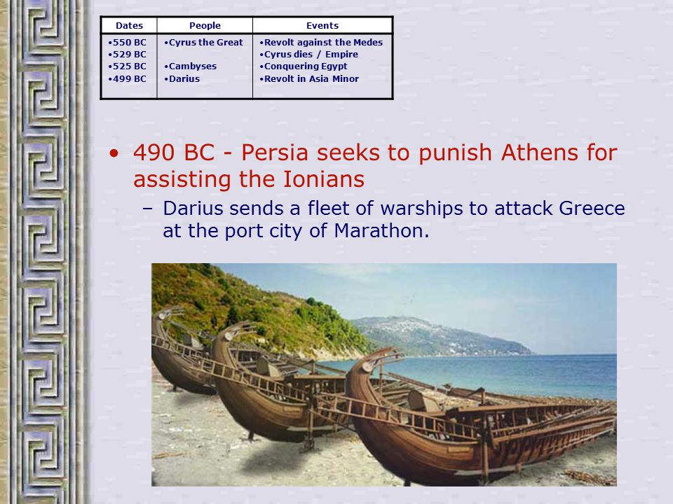 490 BC - Persia seeks to punish Athens for assisting the Ionians