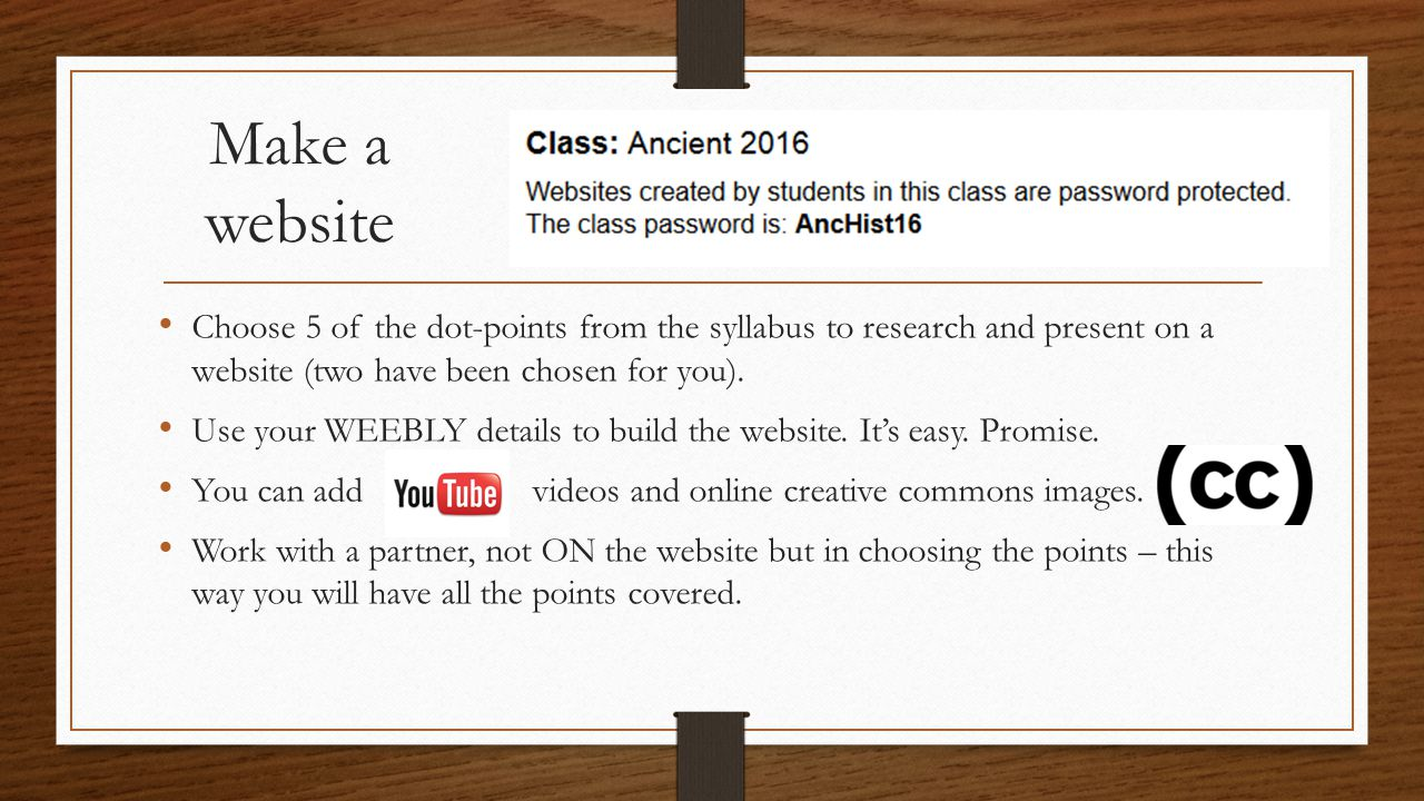 Make a website Choose 5 of the dot-points from the syllabus to research and present on a website (two have been chosen for you).