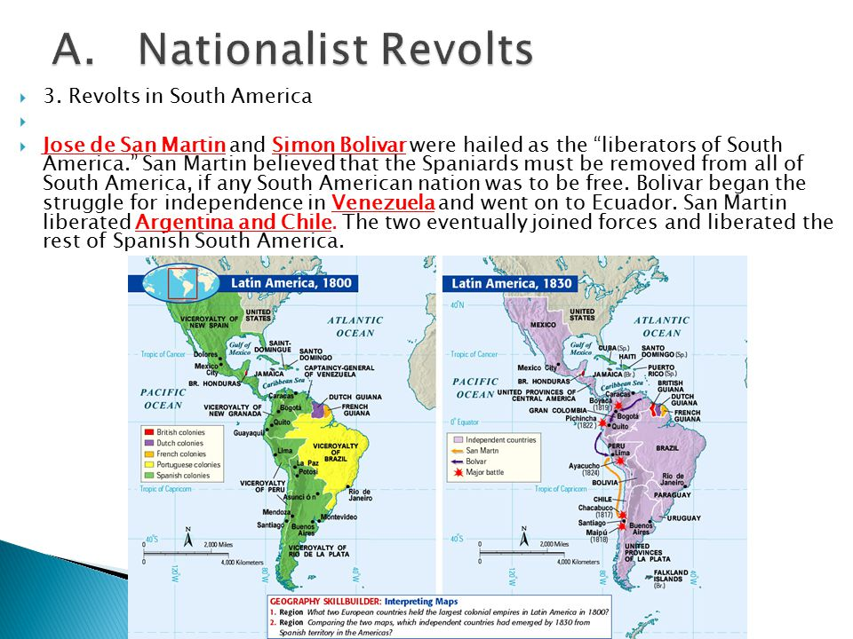 A. Nationalist Revolts 3. Revolts in South America