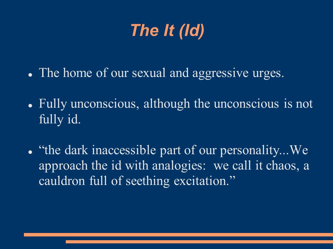 The It (Id)‏ The home of our sexual and aggressive urges.