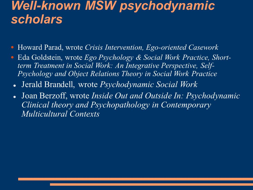 Well-known MSW psychodynamic scholars
