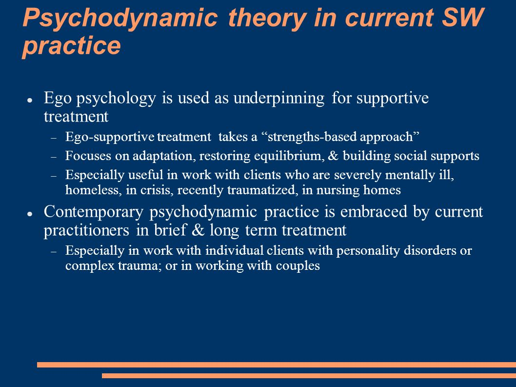 Psychodynamic theory in current SW practice