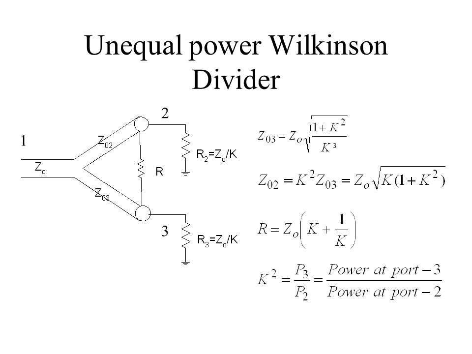 Unequal power Wilkinson Divider