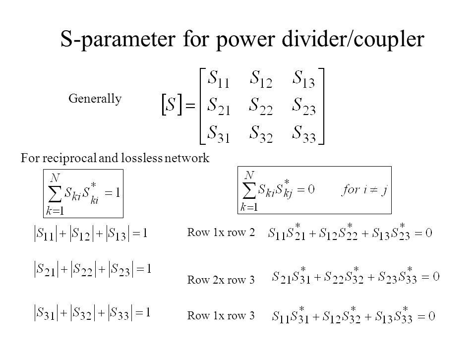 S-parameter for power divider/coupler