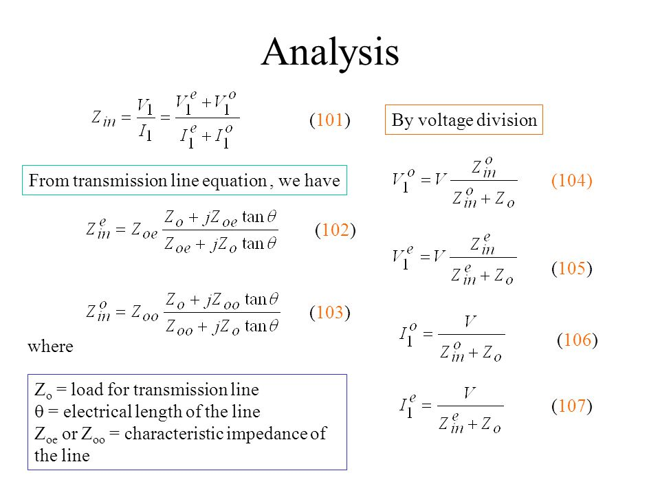 Analysis (101) By voltage division