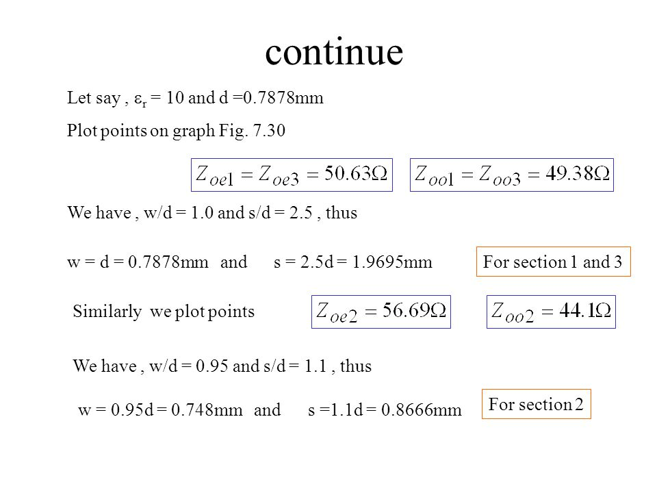 continue Let say , er = 10 and d =0.7878mm