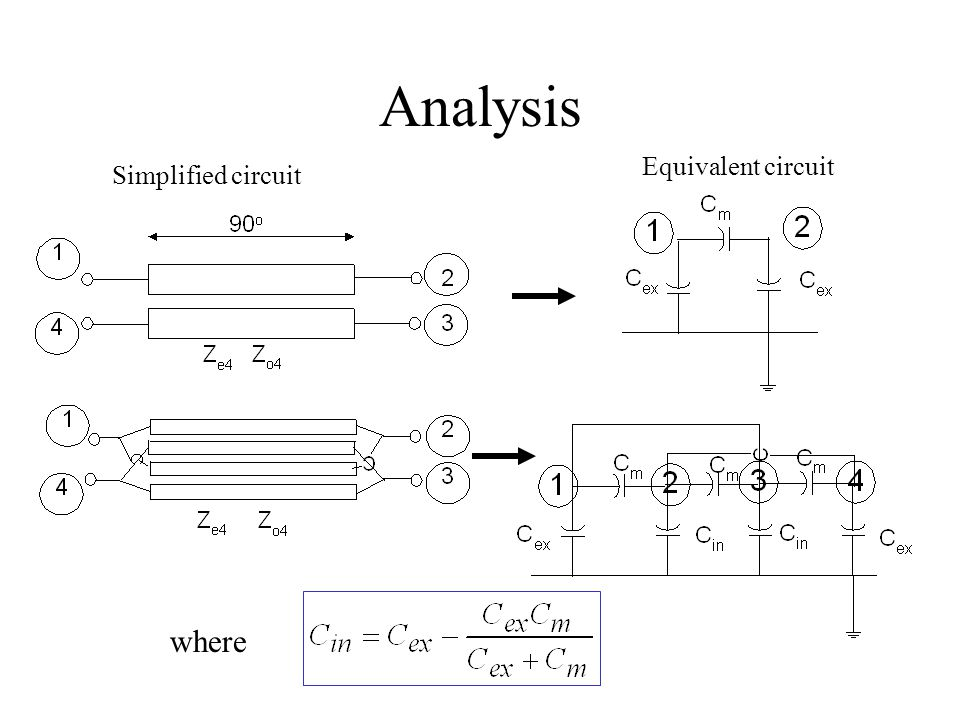 Analysis Equivalent circuit Simplified circuit where