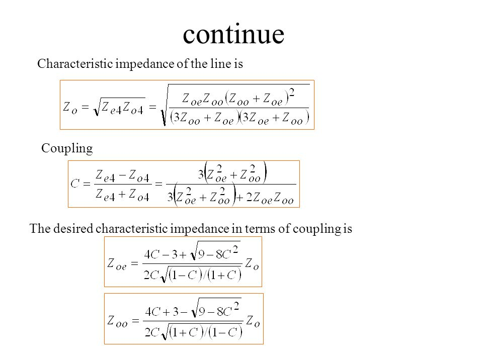 continue Characteristic impedance of the line is Coupling