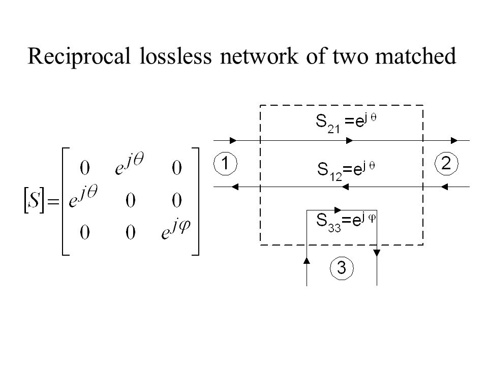 Reciprocal lossless network of two matched