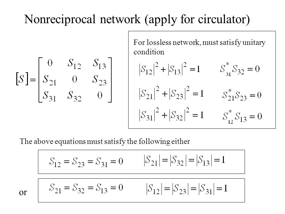 Nonreciprocal network (apply for circulator)