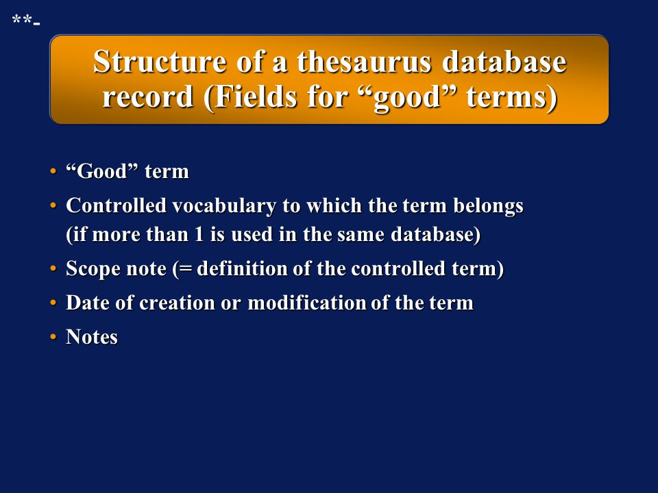 Structure of a thesaurus database record (Fields for good terms)