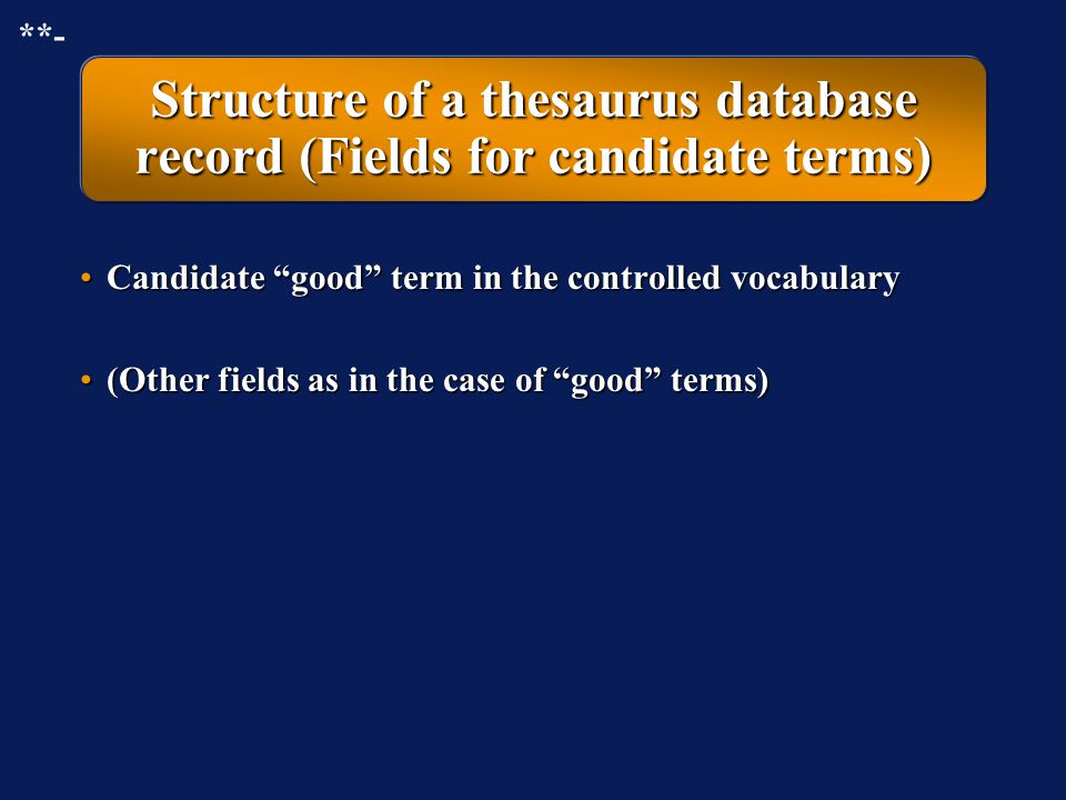 Structure of a thesaurus database record (Fields for candidate terms)