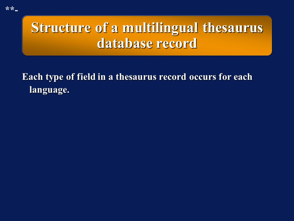 Structure of a multilingual thesaurus database record