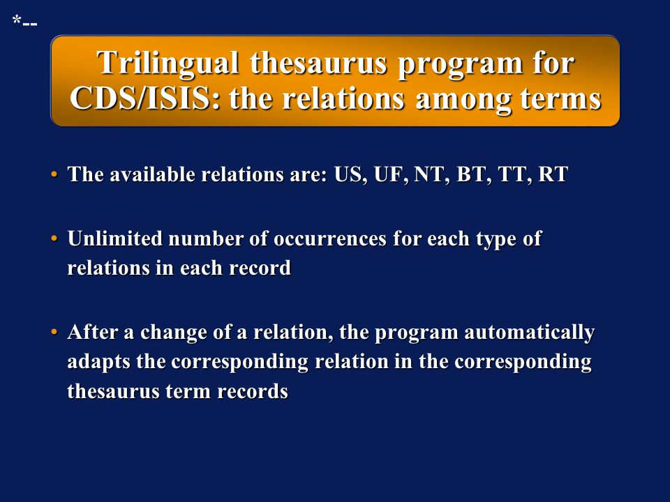 Trilingual thesaurus program for CDS/ISIS: the relations among terms