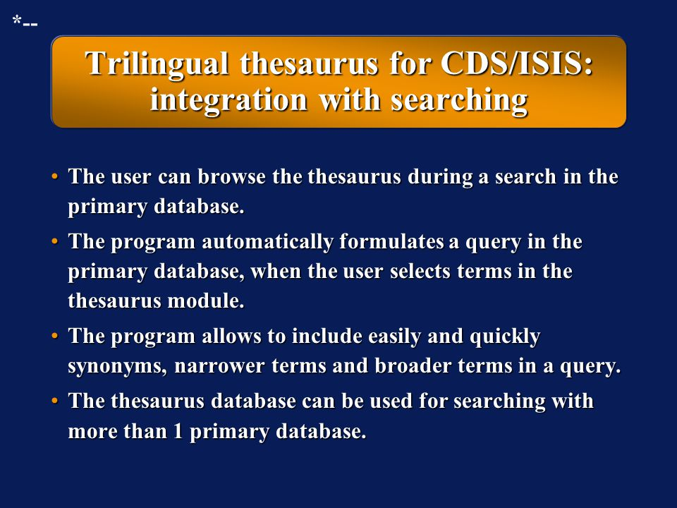 Trilingual thesaurus for CDS/ISIS: integration with searching