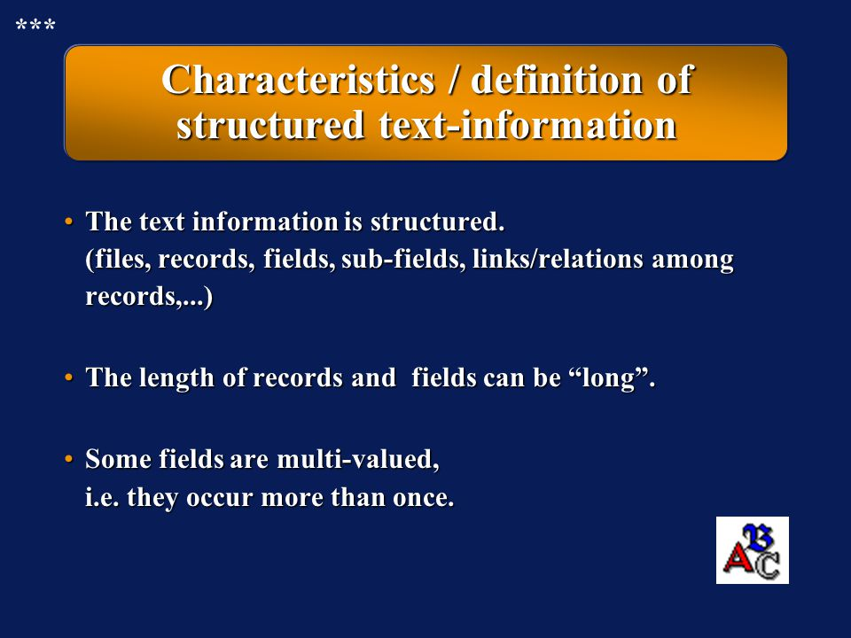 Characteristics / definition of structured text-information
