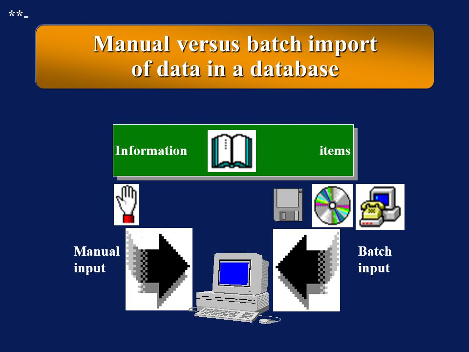 Manual versus batch import of data in a database