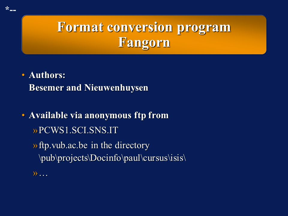 Format conversion program Fangorn