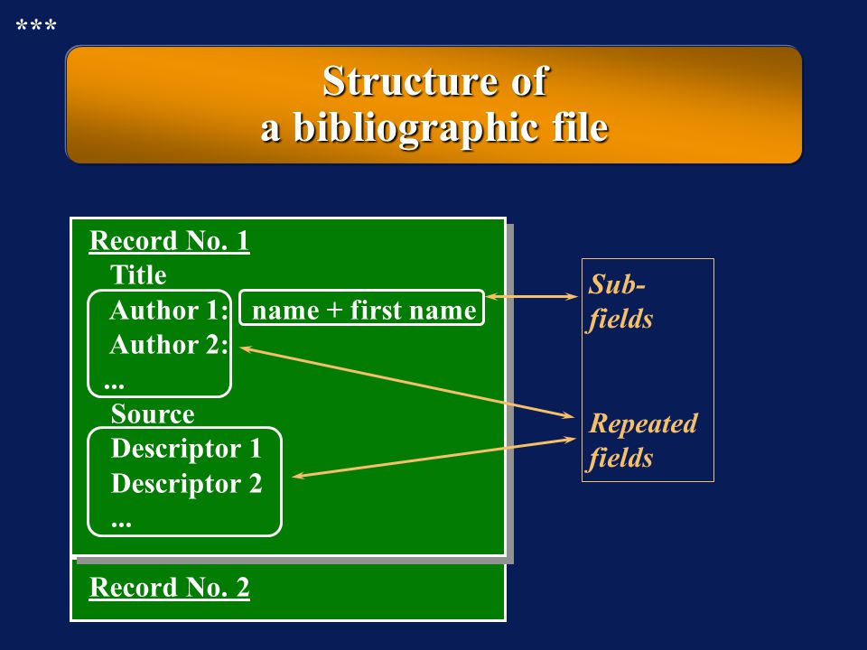 Structure of a bibliographic file