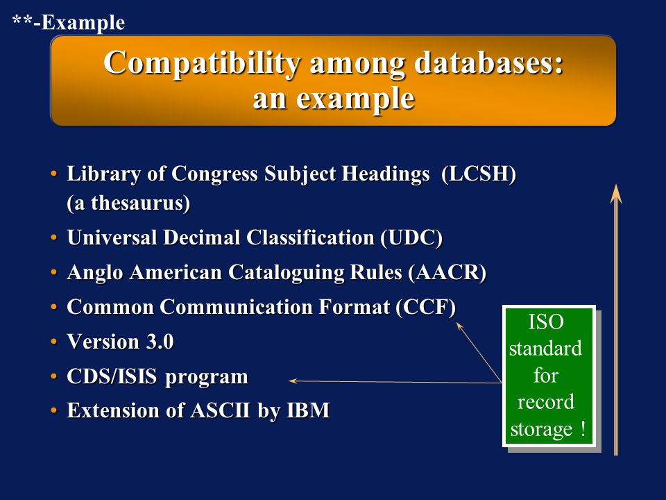 Compatibility among databases: an example