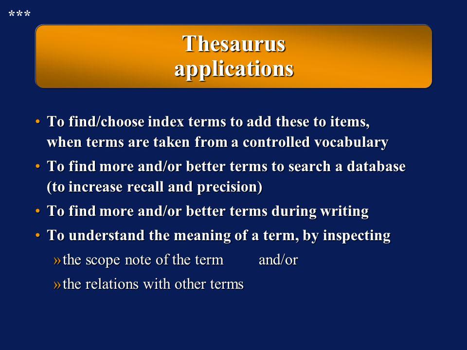 Thesaurus applications