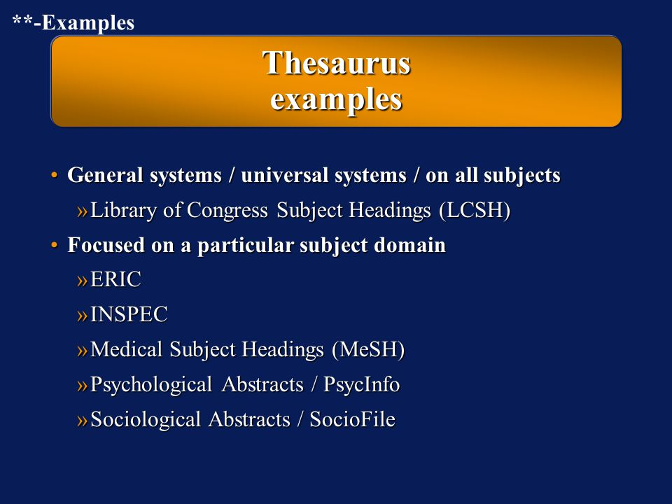 Thesaurus examples **-Examples