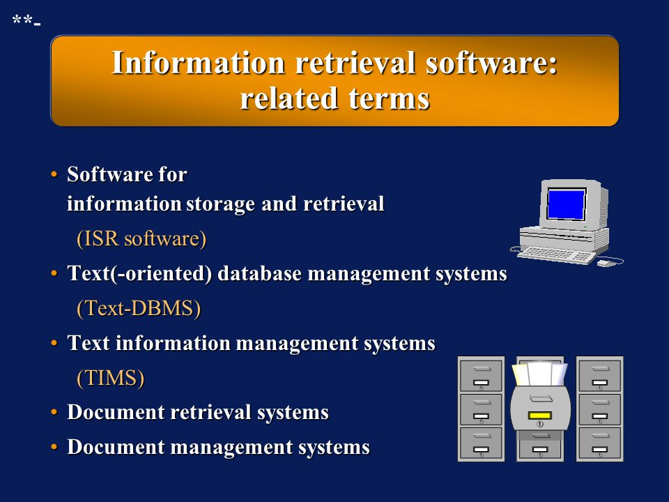 Information retrieval software: related terms
