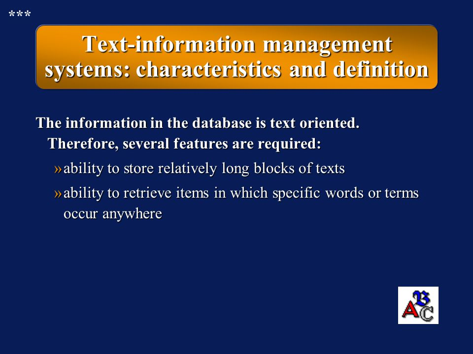Text-information management systems: characteristics and definition