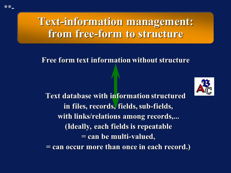 Text-information management: from free-form to structure
