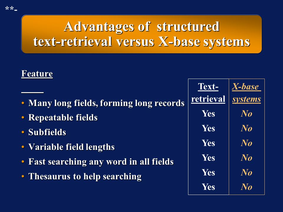 Advantages of structured text-retrieval versus X-base systems