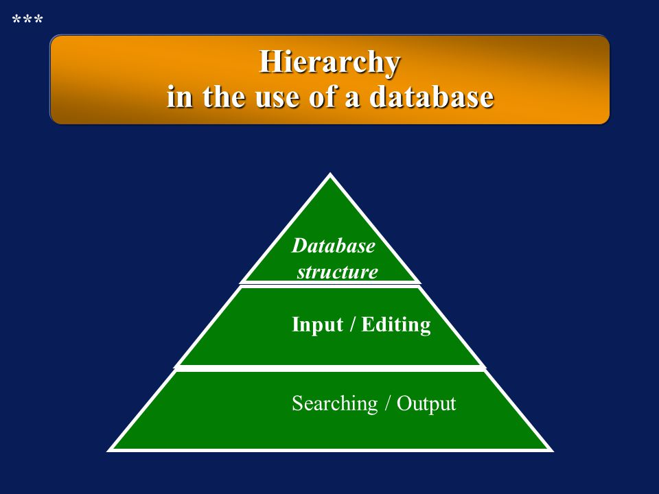 Hierarchy in the use of a database