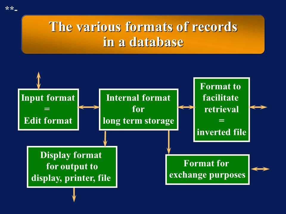 The various formats of records in a database