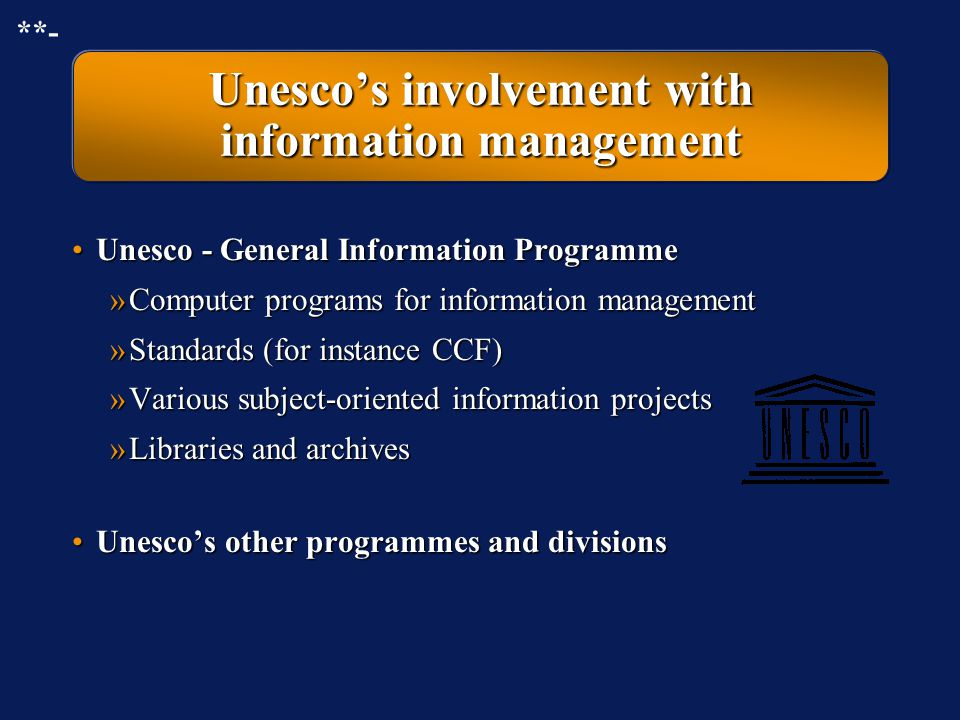 Unesco's involvement with information management