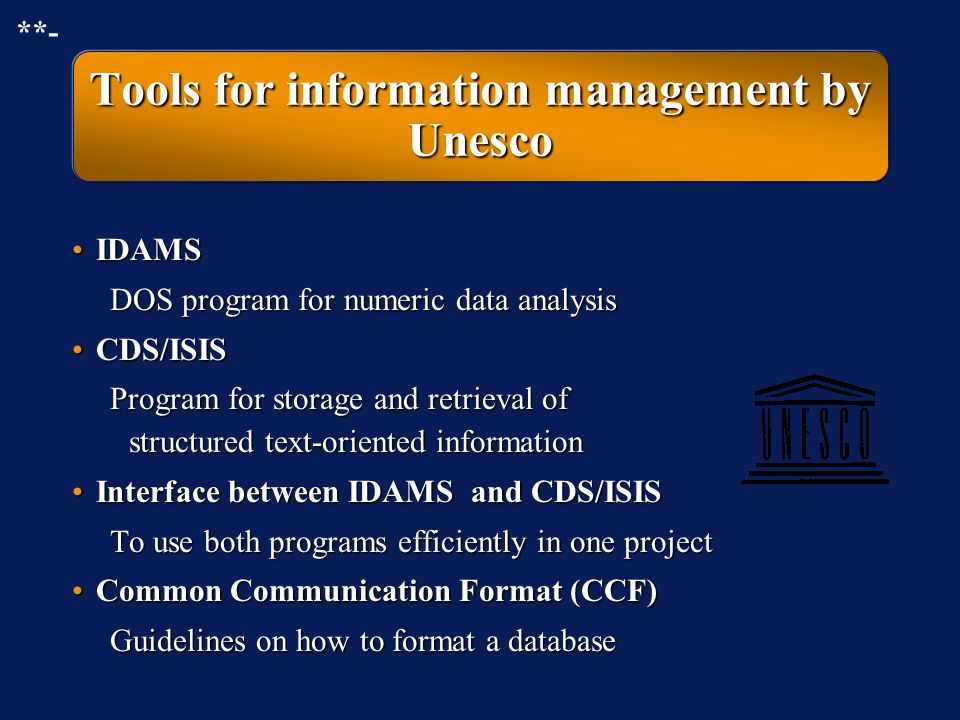 Tools for information management by Unesco
