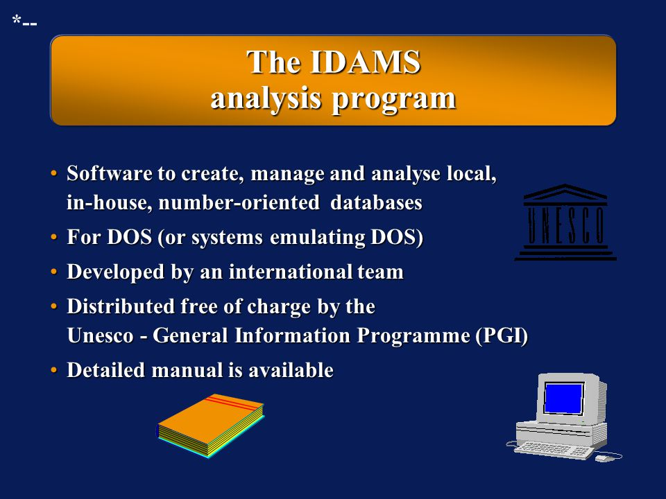 The IDAMS analysis program