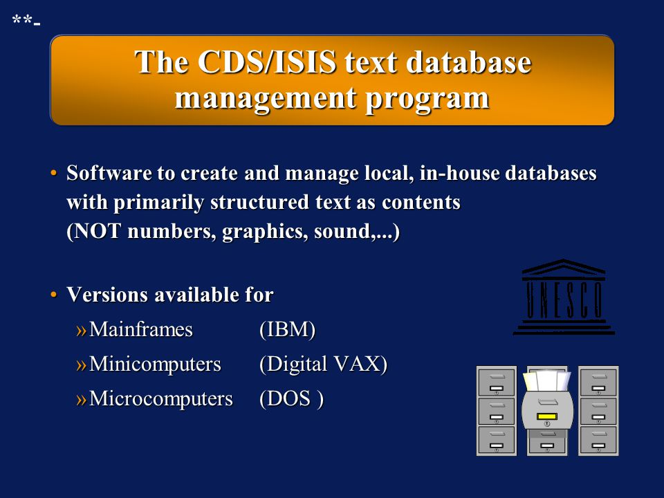 The CDS/ISIS text database management program