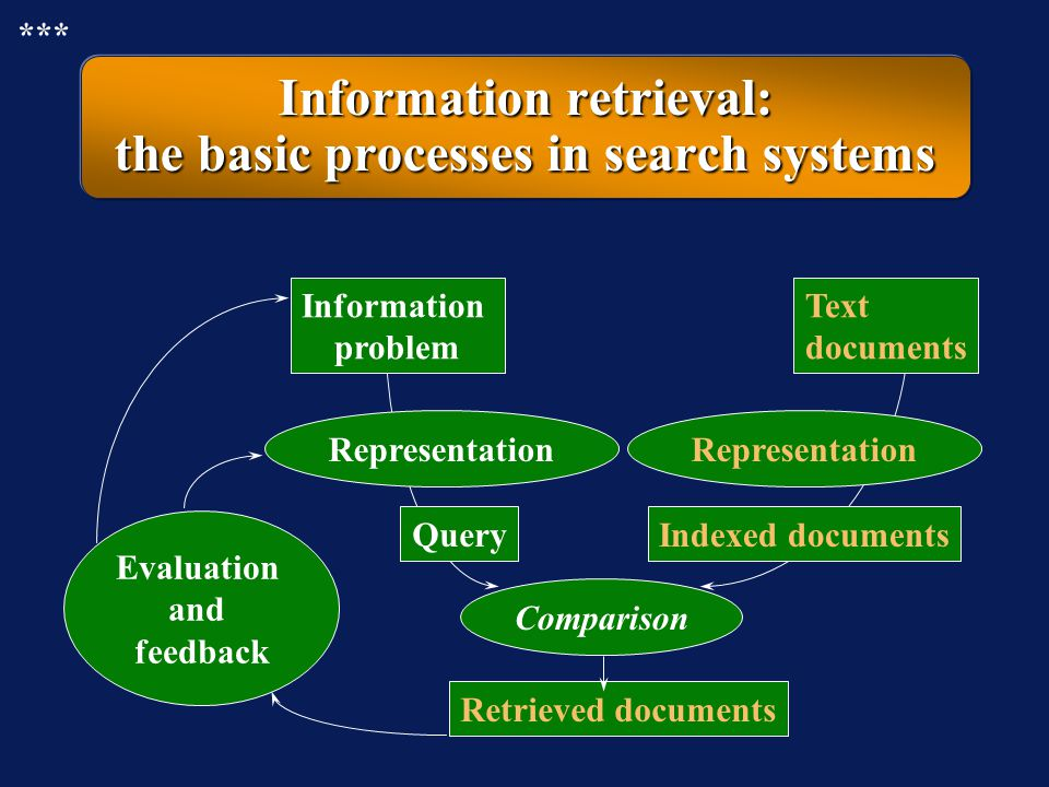 Information retrieval: the basic processes in search systems