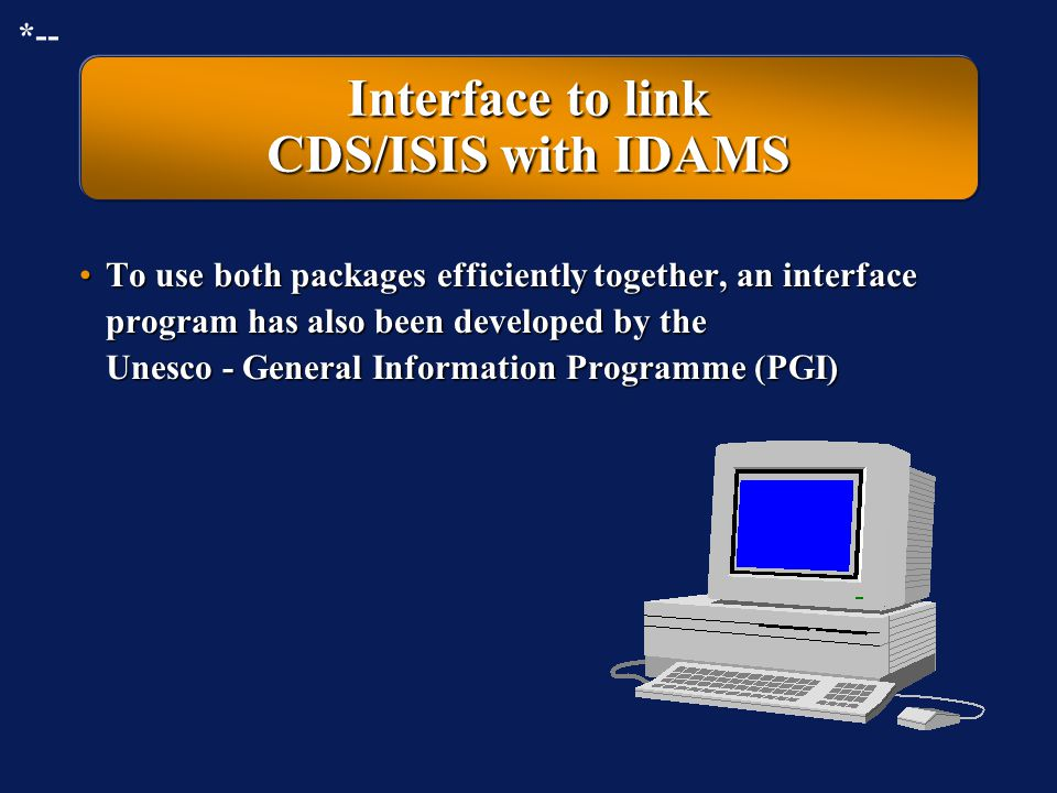 Interface to link CDS/ISIS with IDAMS