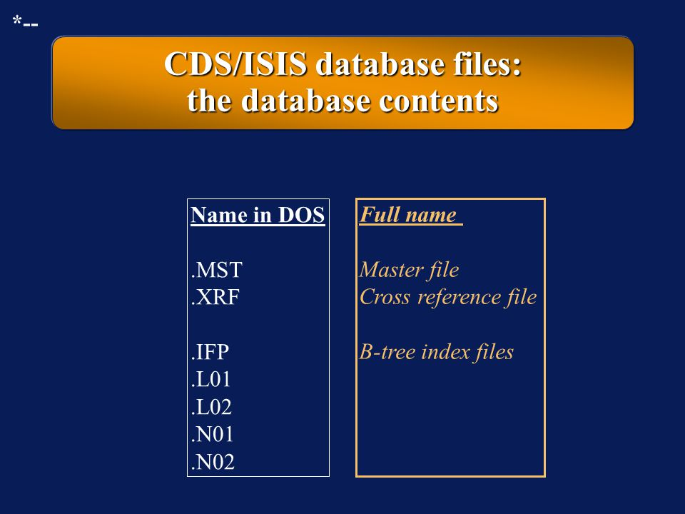CDS/ISIS database files: the database contents
