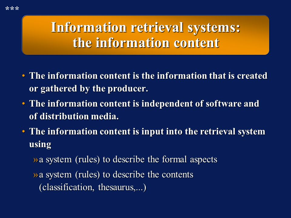 Information retrieval systems: the information content