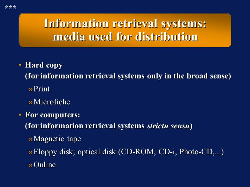 information retrieval systems Users enter queries that are short as well as long the aim of this work is to  evaluate techniques that can enable information retrieval (ir) systems to.