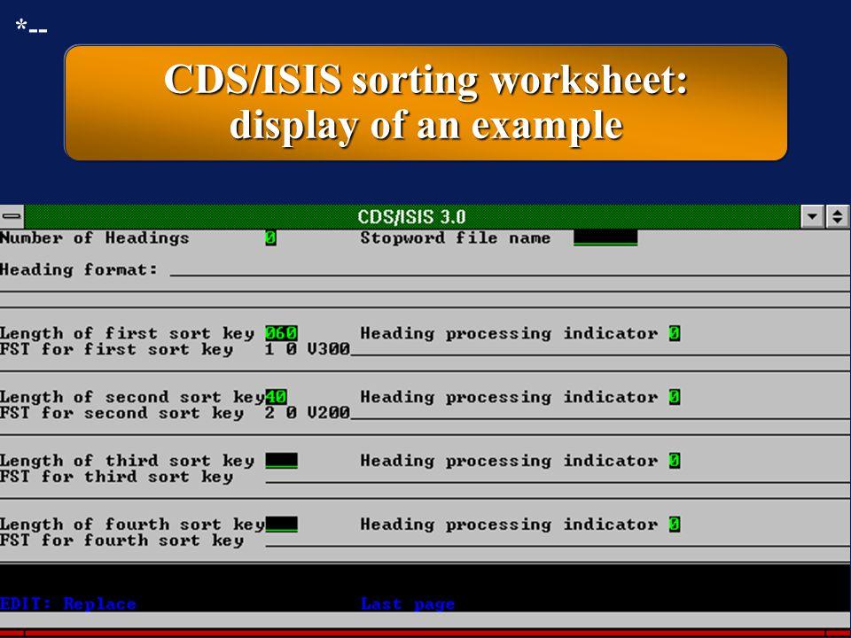 CDS/ISIS sorting worksheet: display of an example