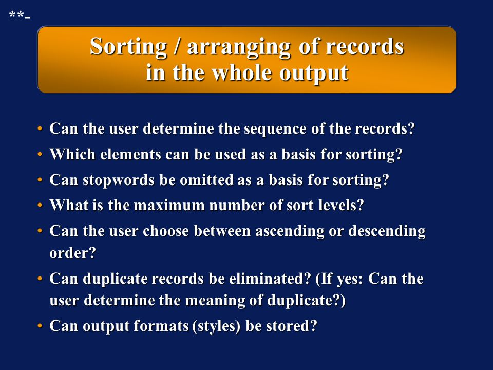 Sorting / arranging of records in the whole output